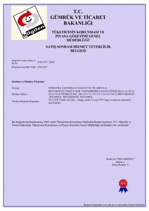 fenestra satış sonrası hizmet yeterlilik belgesi
